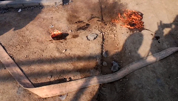 Tyre oil burning test