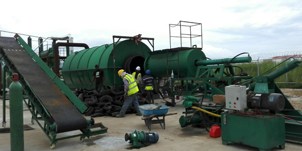Panama waste tire recycling pyrolysis plant running video