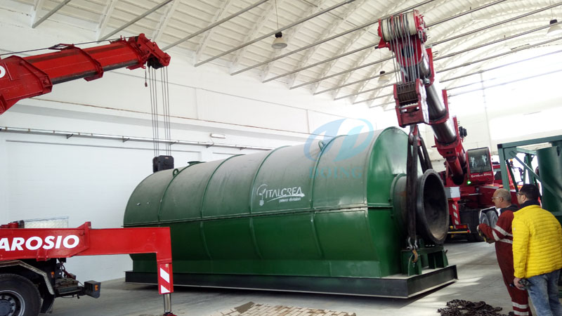 Italy successful installed  waste tyre recycling pyrolysis plant