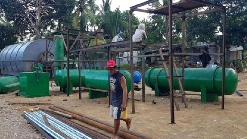 10T/D waste tyre to oil pyrolysis plant successful installed in Philippines